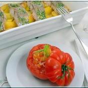 Rajčatový salát (…trochu retro…) a pečená treska s koprovým máslem