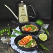 Hráškové risotto s mátou, limetkou a lososem