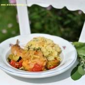 Králík se šafránem, rajčaty a cuketou