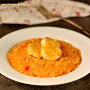 Paprikové risotto se smaženým kozím sýrem